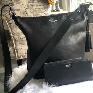 All black leather coach purse with black wallet